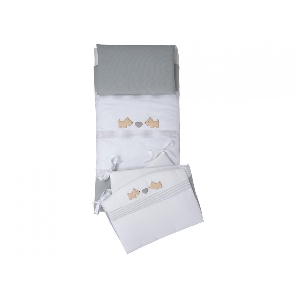 Set tessile composto da paracolpi, sacco sfoderabile, imbottitura e federa per cuscino